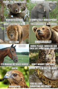This really gets my goat.: HAVE THE NECESSARY  YOUR KOALAFICATIONS ARE  KOALAFICATIONS  COMPLETELYIRRELEPHANT  DON'T LISTEN TO HIMI  THIS ARGUING IS BECOMING  UNBEARABLE!  HERS LION  INDEED  HORSE PLEASE WHEN DO YOU  EVER SAY SOMETHING SMART  ITS MAKING MY VOICE HORSE  DONT WORRY, OWLWAIT  OUCH  IM OUT OF HERE!  YOU ALL ARE  GIRAFFING ME CRAZY  HAWKWARD This really gets my goat.