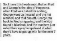 Memes, 🤖, and Fred: have this headcanor that on Fred  and George's first day ofHogwarts,  when Fred was called for sorting,  George went up instead, and the hat  realised, and told him off. George ran  back to Fred sniggering, and the kids  found it hilarious, and the teachers just  rolled their eyes/facepalmed at what  they'd have to put up with for the next 7  years.