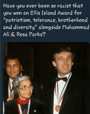 "Ali, Muhammad Ali, and Rosa Parks: Have you ever been so racist that  you won an Ellis Island Award for  ""patriotism, tolerance, brotherhood  and diversity"" alongside Muhammad  Ali & Rosa Parks? Donald J. Trump, German, developer"