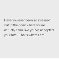 Memes, Fate, and Accepted: Have you ever been so stressed  out to the point where you're  actually calm, like you've accepted  your fate? That's where l am I'm there. Follow @suckstobeyouhun @suckstobeyouhun @suckstobeyouhun