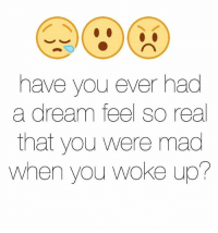 A Dream, Mad, and Madness: have you ever had  a dream feel so real  that you were mad  When you woke up