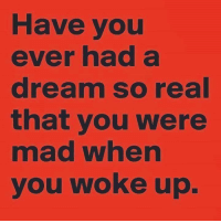 Have you  ever had a  dream so real  that you were  mad when  you woke up.