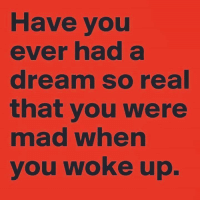A Dream, Memes, and Ups: Have you  ever had a  dream so real  that you were  mad when  you woke up. .