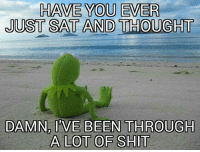 have you ever: HAVE YOU EVER  JUST SAT AND THOUGHT  DAMN, IVE BEEN THROUGH  A LOT OF SHIT