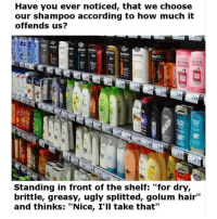 "Meme, Memes, and Ugly: Have you ever noticed, that we choose  our shampoo according to how much it  offends us?  osS  oss  ELVITAL  VITAL  d2  GuSS  Standing in front of the shelf: ""for dry,  brittle, greasy, ugly splitted, golum hair""  and thinks: ""Nice, I'll take that"" @Trended was voted 1 offensive meme page! (18+ only 🔞😈)"