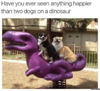 Dank, Dinosaur, and Dinosaurs: Have you ever seen anythinghappier  than two dogs on a dinosaur  memes.com Here's something to brighten up your day.