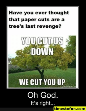 Funny, God, and Lol: Have you ever thought  that paper cuts are a  tree's last revenge?  YOU CUTUS  DOWN  WE CUT YOU UP  tor ne  Oh God.  It's right..  timestofun.com funny memes 15 pictures - #funnymemes #funnypictures #humor #funnytexts #funnyquotes #funnyanimals #funny #lol #haha #memes #entertainment #timestofun.com