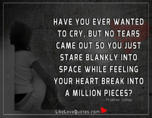 Memes, Break, and Heart: HAVE YOU EVER WANTED  TO CRY, BUT NO TEARS  CAME OUT SO YOU JUST  STARE BLANKLY INTO  SPACE WHILE FEELING  YOUR HEART BREAK INTO  A MILLION PIECES?  Prakhar Sahay  LikeLoveQuotes.com