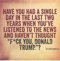 "Donald Trump, Memes, and News: HAVE YOU HAD A SINGLE  DAY IN THE LAST TWO  YEARS WHEN YOU'VE  LISTENED TO THE NEWS  AND HAVEN'T THOUGHT  *CK YOU, DONALD  TRUMP.""?  1 『, :  THISLDERALAMERICAN"