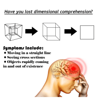 Lost, Cross, and You: Have you lost dimensional comprehension?  Symptoms Include:  o Moving in a straight line  ·Seeing cross sections  » Olbjects rapidly coming  in and out of existence <p>Dimensional Illness</p>