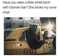 Haha lol NoChill: Have you seen a little white bitch  with blonde hair? She broke my sons  chair  DA0 Haha lol NoChill