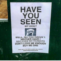 Sounds legit.: HAVE  YOU  SEEN  MY DOG?  VVELL, NO YOU HAVENT.  NEITHER HAVE I  DON'T LOVE ME ENOUGH  BUY ME ONE  EMAIL ME YOU WANI sur MLA uo  AIC  HOWDY 2220 YAHOO, CO, UK Sounds legit.