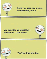 "Facebook, Memes, and True: Have you seen my picture  on facebook, bro?  yes bro, it is so great that i  clicked on ""Like"" twice  You're a true bro, bro"