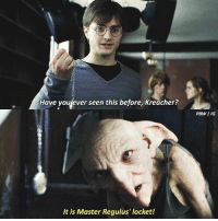 Memes, 🤖, and Harrypotter: Have youjever seen this before, Kreacher?  PBW I IG  It is Master Regulus' locket! I wish we could know more about Regulus, I find him so intriguing and interesting! harrypotter