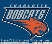 Meme, Nba, and Lost: Haven't lost a game  Since last year. Bobcats! Credit: Wesley Jenq  http://whatdoumeme.com/meme/4bcces