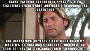 Sex, Soon..., and Colorado: HAVEN'T SEEN MY DAUGHTER IN 2 YEARS, STILL A  REGISTERED SEX OFFENDER, AND UNABLE TO ADVANCE AT  CURRENT JOB.  BUT TODAY I HAVE 10 YEARS CLEAN, WORKING ON MY  MASTER'S, RELOCATING TO COLORADO FOR A NEW JOB  SOON, SO I HAVE ALL THIS GOING FOR ME, WHICH IS NICE 10 years clean today