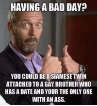 Gay Brother: HAVING A BAD DAY  YOU COULD BEASIAMESE TWIN  ATTACHED TO A GAY BROTHER WHO  HAS A DATE AND YOUR THE ONLY ONE  WITH AN ASS.
