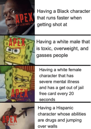 Drugs, Jail, and Apex: Having a Black character  APEX  that runs faster when  getting shot at  LEGENOS  CAPEN  Having a white male that  is toxic, overweight, and  LEGENS  gasses people  Having a white female  character that has  severe mental illness  and has a get out of jail  free card every 20  FTOENDS  seconds  Having a Hispanic  character whose abilities  4 EX  are drugs and jumping  EGENOS  over walls Gibraltar is gay and Bloodhound is non- binary