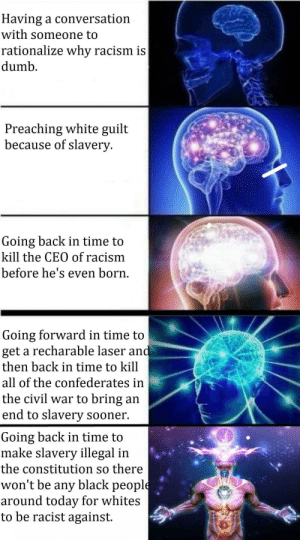 Well yes, but actually no.: Having a conversation  with someone to  rationalize why racism is  dumb  Preaching white guilt  because of slavery  Going back in time to  kill the CEO of racism  before he's even born.  Going forward in time to  get a recharable laser and  then back in time to kill  all of the confederates in  the civil war to bring an  end to slavery sooner  Going back in time to  make slavery illegal in  the constitution so there  won't be any black people  around today for whites  to be racist against Well yes, but actually no.
