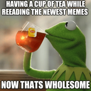 Memes, Wholesome, and Tea: HAVING A CUP OF TEA WHILE  REEADING THE NEWEST MEMES  NOW THATS WHOLESOME That's wholesome