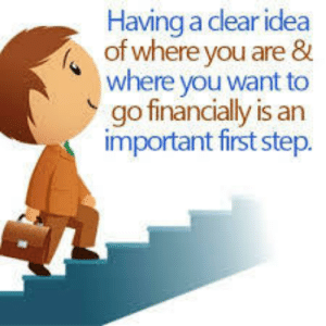 Idea, Step, and First: Having a dear idea  of where vou are 8  where you want to  go financially is an  important first step.