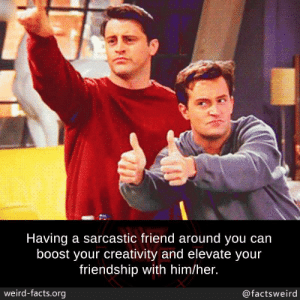Facts, Memes, and Weird: Having a sarcastic friend around you can  boost your creativity and elevate your  friendship with him/her.  weird-facts.org  @factsweird