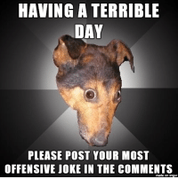 Most Offensive: HAVING A TERRIBLE  DAY  PLEASE POST YOUR MOST  OFFENSIVE JOKE IN THE COMMENTS  made on imgur