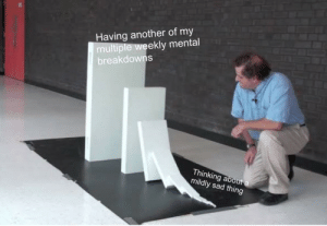 Me_irl by kerry_die MORE MEMES: Having another of my  multiple weekly mental  breakdowns  Thinking abou  mildly sad thing Me_irl by kerry_die MORE MEMES