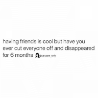 Friends, Funny, and Memes: having friends is cool but have you  ever cut everyone off and disappeared  for 6 months asarcasm only SarcasmOnly
