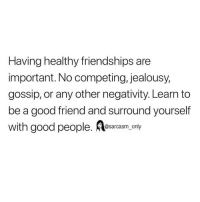 Funny, Memes, and Good: Having healthy friendships are  important. No competing, jealousy,  gossip, or any other negativity. Learn to  be a good friend and surround yourself  with good people. esarcasm, only SarcasmOnly