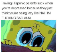 Fucking, Lazy, and Parents: Having Hispanic parents suck when  you're depressed because they just  think you're being lazy like NAH IM  FUCKING SAD AMA Seasonal depression