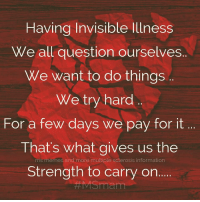 Memes, Information, and Multiple Sclerosis: Having Invisible lllness  We all question ourselves.  We want to do things  We try hard  For a few days we pay for it  That's what gives us the  Strength to carry on..  ..  ms memes and more multiple sclerosis information Having Invisible Illness We all question ourselves..  We want to do things .. We try hard ..  For a few days we pay for it ... That's what gives us the Strength to carry on.....  #msawareness #fightms #msstrong #multiplesclerosis #msmam MS Memes and more Multiple Sclerosis Information