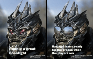 Head, DnD, and Dragon: Havinga name ready  for the dragon when  the players ask  TFS  Runnig a great  bossfight  BARRICADE HEAD  NOTES VOR M  | BARRICADE HEAD w/SHADES  wotEs VOMre theren Cup taces  TF5 It's the little thing that count.
