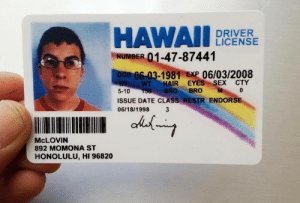 Sex, Date, and Hair: HAWAI  NUMBER 01-47-87441  DRIVER  LICENSE  B 06-03-1981 EXP 06/03/2008  HWT HAIR EYES SEX CTY  5-10 150 BRO BRO M  ISSUE DATE CLASS RESTR ENDORSE  0  06/18/1998 3  McLOVIN  892 MOMONA ST  HONOLULU, HI 96820 happy 37th bday mclovin