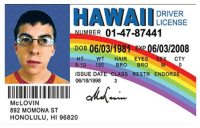 Birthday, Memes, and Date: HAWAII  DRIVER  UMBER  01-47-87441  DOB 06 031981 EXP 06/03/2008  HT WT  HAIR EYES  SE CTY  5-10 150 BRO  BRO  M  ISSUE DATE CLASS RESTR ENDORSE  06/18/1998  Mc LOVIN  892 MOMONA ST  HONOLULU, HI 96820 Happy 36th Birthday, McLovin! https://t.co/un021z6IIx