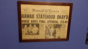 Traffic, Camera, and Hawaii: Hawaii Times  BACK ATTACK  On Traffic  Acsidents  Westher Feressf  HAWAII STATEHOOD OKAY'D  FAIE CAN  HOUSE GIVES FINAL APPROVAL, 323-89  50-Star Flag  On Matson  Liner Is Due  Bill Sent to  Ike; Signature  Is Assured  Flagmakers Diazy  Contemplating  Additional Star  Actust Admissien  Will Be Delaysd by  Formalities  e  llare  Rar  Yashica Camera Officials GOP Chairman  Eated at MaunaLahilaLis.  artine e  analulales I framed the newspaper of Hawaii becoming a state.