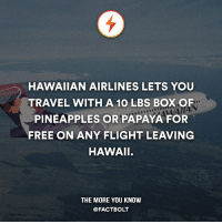 Omnom!: HAWAIIAN AIRLINES LETS YOU  TRAVEL WITH A 10 LBS BOXOF  PINEAPPLES OR PAPAYA FOR  FREE ON ANY FLIGHT LEAVING  HAWAII.  THE MORE YOU KNOW  @FACT BOLT Omnom!