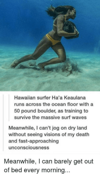 "Memes, Waves, and Death: Hawaiian surfer Ha'a Keaulana  runs across the ocean floor with a  50 pound boulder, as training to  survive the massive surf waves  Meanwhile, I can't jog on dry land  without seeing visions of my death  and fast-approaching  unconsciousness  Meanwhile, I can barely get out  of bed every morning... <p>Surf Runner. via /r/memes <a href=""https://ift.tt/2O0Ls1n"">https://ift.tt/2O0Ls1n</a></p>"