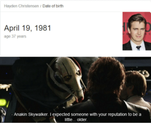 Happy birthday Ani!: Hayden Christensen / Date of birth  April 19, 1981  age 37 years  Anakin Skywalker. I expected someone with your reputation to be a  little... older Happy birthday Ani!