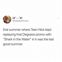 "Shark, Summer, and Degrassi: @hayleyforyou  that summer where Teen Nick kept  replaying that Degrassi promo with  ""Shark in the Water"" in it was the last  good summer so many memories just came back idk what to do"
