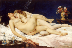 hazeldomain: theclockworkzombie:  toastoat:  newwavenova:  secretlesbians:  Gustave Courbet, Le Sommeil,1866. Le Sommeil [The Sleepers], which depicts two women entwined in a post-coital embrace, caused a stir when it was first shown in the 1870s. The police were called in, and the painting was not shown again until the 1980s. But its brief showing had an influence on a number of contemporary artists, and helped challenge the taboos associated with lesbian relationships. For modern audiences it's a good reminder that people in the 19th century were not ignorant of lesbian relationships, as we tend to believe. And it's pretty damn sexy, don't you think?  They called the police on this lesbian painting.   The best part is, the lesbian embrace isn't even the biggest thing that made the painting so controversial, it was the art style. People in the artistic community at the time were wholly familiar with sapphic relationships being portrayed in art, but were used to these scenes being portrayed in the 'academic art' style, which consisted of smooth, simplistic, idealised versions of the nude female form. This often went hand in hand with the depiction of Roman  Greek allegories to illustrate certain ideals (think Cabanel's Birth of Venus). Courbet's journey into realism was met by heavy critique from the academic movement, as the women he painted were, well, more realistic. Leaving in details such as the rolls of fat around the ribs acted as a blunt reminder to the audience that these were not euphoric goddesses caressing in ecstasy, but ordinary women having a nap together after making love. Other realist paintings suffered the same controversy, Manet's Olympia is a perfect example, where the problem was not that the painting depicted a nude woman in an erotic pose, but the fact that she was just an ordinary courtesan, given an identity  portrayed in a place of power  control. Realism humanized the female form in art,  removed it from its previous role as a representation of the ideal. So what disgusted people about the painting wasn't so much that Le Sommeil depicted two women, but rather that it depicted two 'real' women.  Artist: So I painted a couple of lesbians in bed.  Men: Niiiiiiiiiice Artist: They have cellulite Men: I AM CALLING THE POLICE : hazeldomain: theclockworkzombie:  toastoat:  newwavenova:  secretlesbians:  Gustave Courbet, Le Sommeil,1866. Le Sommeil [The Sleepers], which depicts two women entwined in a post-coital embrace, caused a stir when it was first shown in the 1870s. The police were called in, and the painting was not shown again until the 1980s. But its brief showing had an influence on a number of contemporary artists, and helped challenge the taboos associated with lesbian relationships. For modern audiences it's a good reminder that people in the 19th century were not ignorant of lesbian relationships, as we tend to believe. And it's pretty damn sexy, don't you think?  They called the police on this lesbian painting.   The best part is, the lesbian embrace isn't even the biggest thing that made the painting so controversial, it was the art style. People in the artistic community at the time were wholly familiar with sapphic relationships being portrayed in art, but were used to these scenes being portrayed in the 'academic art' style, which consisted of smooth, simplistic, idealised versions of the nude female form. This often went hand in hand with the depiction of Roman  Greek allegories to illustrate certain ideals (think Cabanel's Birth of Venus). Courbet's journey into realism was met by heavy critique from the academic movement, as the women he painted were, well, more realistic. Leaving in details such as the rolls of fat around the ribs acted as a blunt reminder to the audience that these were not euphoric goddesses caressing in ecstasy, but ordinary women having a nap together after making love. Other realist paintings suffered the same controversy, Manet's Olympia is a perfect example, where the problem was not that the painting depicted a nude woman in an erotic pose, but the fact that she was just an ordinary courtesan, given an identity  portrayed in a place of power  control. Realism humanized the female form in art,  removed it from its previous role as a representation of the ideal. So what disgusted people about the painting wasn't so much that Le Sommeil depicted two women, but rather that it depicted two 'real' women.  Artist: So I painted a couple of lesbians in bed.  Men: Niiiiiiiiiice Artist: They have cellulite Men: I AM CALLING THE POLICE
