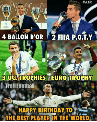 On this day Cristiano Ronaldo was born and Rest as You know is Records 👑🏅🏆😍: HAZR  MILAN  28/05/2016  4 BALLON D'OR FIFA P40.T.Y  3 UCLTROPHIES IEUROITRORHY  Troll Footbal  HAPPY BIRTHDAY TO  THE BEST PLAYER IN THE WORLD On this day Cristiano Ronaldo was born and Rest as You know is Records 👑🏅🏆😍
