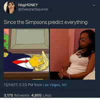 Mood, The Simpsons, and Las Vegas: hbgHONEY  @SweaterSquirrel  Since the Simpsons predict everything  12/14/17, 5:23 PM from Las Vegas, NV  3,175 Retweets 4,805 Likes In a trigger mood