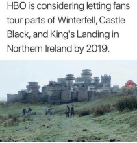 winterfell: HBO is considering letting fan:s  tour parts of Winterfell, Castle  Black, and King's Landing in  Northern Ireland by 2019
