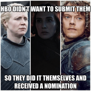 Memes, 🤖, and Did: HBODIDNT WANT TO SUBMIT THEM  SO THEY DID IT THEMSELVES AND  RECEIVED A NOMINATION  PIC COLL They deserve it 👏 https://t.co/VBiU7ttHXP