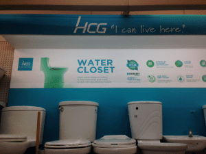 Facepalm, Forever, and Help: HCG  can live here  WATER  SIPHON JET  PLUSHING  TECHNOLOGY  CG  I ean live here  10 YEAR  ■GEBERIT  ADB SEAT  AND COVER  Every water closet is a friend,  to help flush away your cares  to stay with you sincerely forever  SENSE  GEBERIT  TANK FITTING  WAI  5 years warranty I can live here