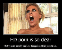 Is It Porn: HD porn is so clear  That you can actually see how disappointed their parents are