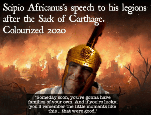 He actually wept at the sight of Carthage burning and Polybius quoted him as saying, in between sobs 'Those G(o)damn Du(c)ks' 😭🦆💔: He actually wept at the sight of Carthage burning and Polybius quoted him as saying, in between sobs 'Those G(o)damn Du(c)ks' 😭🦆💔