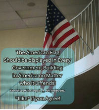 """America, Memes, and The Voice: he American Flag  Should be  displayed in Eve  Government Building  n America no Matter  who it Offends  The Voice ofthe PeopleAFF Media Inc  Like""""  it vou Agree! Without Question! #America #OlGlory"""