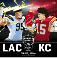 The @Chargers. #FightForEachOther The @Chiefs. #ChiefsKingdom Thursday Night Football! #TNF  #LACvsKC: TONIGHT (8pm ET) on @nflnetwork | @NFLonFOX | @PrimeVideo https://t.co/faDDZmLe7D: HE  CHARGERS  NFL  THURSDAY  NIGHT  F O O T BALL  FOX  prime video  PRESENTED BY  BUD LIGHT  THURS, 8PMET  AVAILABILITY SUBJECT TO CHANGE The @Chargers. #FightForEachOther The @Chiefs. #ChiefsKingdom Thursday Night Football! #TNF  #LACvsKC: TONIGHT (8pm ET) on @nflnetwork | @NFLonFOX | @PrimeVideo https://t.co/faDDZmLe7D